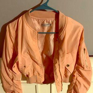 Light pink crop bomber Jacket